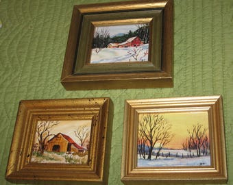 Trio of Original Hand Painted Artwork by Betty Tuecke Dayton Ohio Outdoor Scenes Framed in Gold Frames