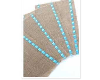 Picnic Table Placemats Adorned with Satin Ribbon - Rustic Chic Home Decor - Elegant Dining