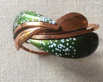 Vintage Copper and Green Enamel Cuff Bracelet