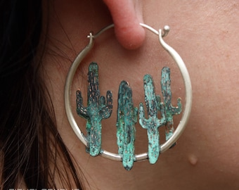 Saguaro Cactus Southwest Earring Desert Lover Nature Cactus Jewelry Desert Jewelry Gift Succulent Cacti Cactus Hoop Saguaro Cactus Earring