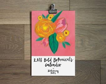 2018 illustrated wall calendar - botanical - 6 x 9 - floral calendar -illustrated flowers- flower art
