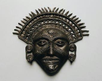Metal Face Wall Hanging Mask India - Indian Hindu Tribal Decor - Global Bohemian Decor