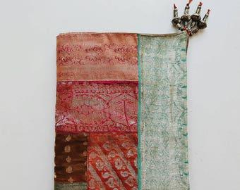 Silk Sari Indian Textile Wall or Throw with Beads - Modern Bohemian Decor