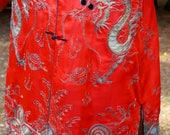 Reserved Listing 2nd payment....1900's Chinese Silver Embroidered Red Silk Robe Coat