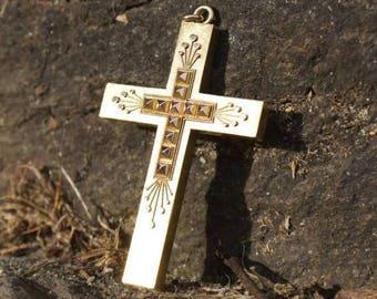Etruscan 14K Gold Crucifix Cross Pendant Mourning Jewelry