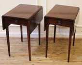 Vintage Pair Mahogany End Tables Small Drop Leaf Federal Style, Style Craft, C.1940.