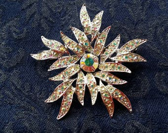 GLITZY Pin w/ Aurora Borealis Rhinestones by Sarah Coventry VINTAGE