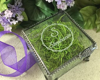Glass Box, Personalized, Stained Glass Keepsake Box, Wedding, Birthday, Maid of Honor, Gift for Her, Gift for Mom, Sister, Birthday Gift