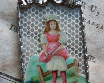 Fiona & The Fig - Victorian - Die Cut Scrap - Young Girl in Pink Dress - Soldered Charm - Necklace - Pendant-Jewelry