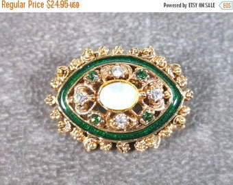 25% Off Vintage Florenza Signed Ornate Green Enamel and Glass Opal Moonstone Pin / Brooch