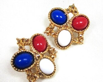 "25% Off Vintage Earrings, Sarah Coventry "" Americana"" Earrings, Mint Collector Piece, Patriotic Earrings"