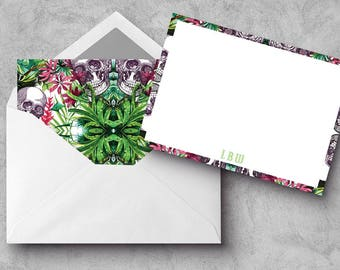 "A2 Flat Notecard Set - ""Tropical Skulls"""