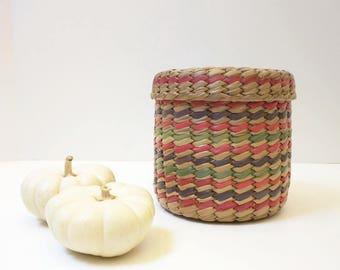 Vintage Basket Round Striped Lid Storage Bohemian