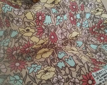 "Small Vintage Liberty Silk Scarf. Field of Meadow Flowers. 23"" Square."