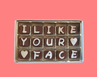 ship AFTER 8/7 I Like Your Face Chocolate Message Anniversary Gift for Men Boyfriend Gift for Girlfriend Her Him BF Valentines Romantic Funn