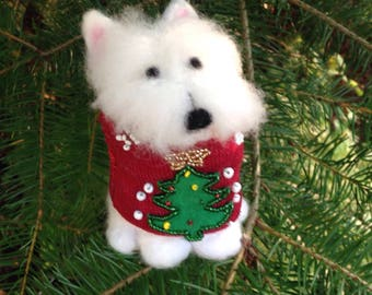 Westie figurine wearing a Christmas sweater, ready to ship!