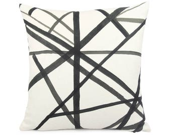 Groundworks Ebony Channels Pillow cover, Square Euro or Lumbar, Geometric Cushion Sham, Cream Black Luxe Designer Linen Toss Pillow, Modern