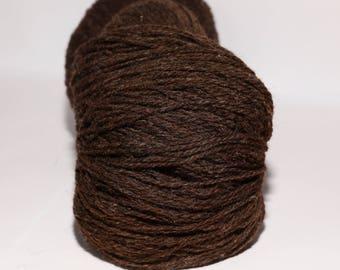 KAUNI Undyed Wool Yarn, Worsted Weight 8/2  2ply, 100% wool Brown