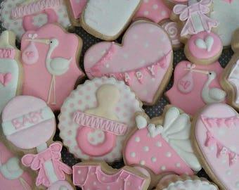 Baby cookies - baby shower cookies - 2 dozen baby decorated cookie favors - baby announcement - baby boy - baby girl cookies