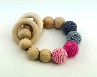 Crochet beads Teething rattle, Baby teething toy, Crochet baby rattle Eco friendly Rattle Baby Shower Gift