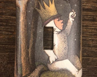 Where the Wild Things Are Light Switch Plate / Upcycled / Recycled