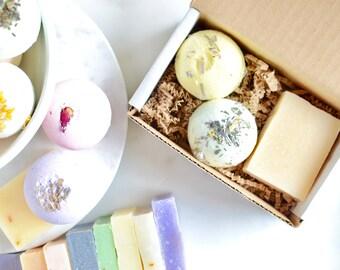 Mini Spa Gift Set under 10; Valentines Day Gift; Bridesmaids Gift; Holiday Gift Idea; Bridal Shower Favors; Box of sunshine; Bath Bomb Soap