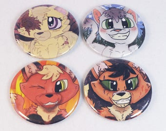 Flame, Wild, Gale and Spider Set of 4 - The Unknown Flame 2.25 in Pins