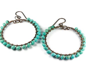 Medium Copper Hoops, Turquoise Earrings, Handmade Copper Jewelry, Boho Earrings, For Sensitive Ears, Hypoallergenic Niobium Ear Wires