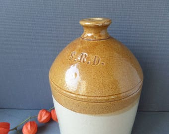 British WW1 Stoneware Terracotta Rum Bottle FULHAM Pottery S.R.D. circa 1915