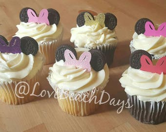 Minnie Mouse Bow Cupcake Toppers: Gold Glitter Birthday Cupcake Toppers, First Birthday, Food Decorations