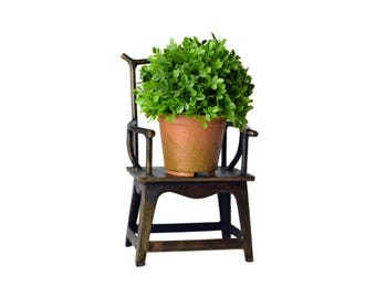 Brass Mini Display Chair, Large Doll Chair, Plant Chair