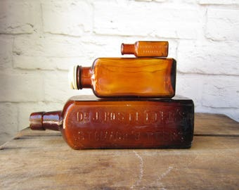Antique Medicine Bottles - Portland Oregon - Apotocary Bitters Bottle - Amber Bottles