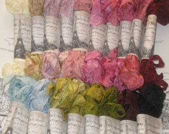 Hand Dyed Scrunched Seam Binding ribbon Bundle, Crinkled Seam Binding Packaged, Vintage Inspired Seam Binding,  ESC