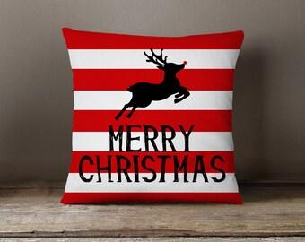 Holiday Pillow, Christmas Pillow, Reindeer, Stripes, Deer Pillow: Leaping Reindeer Deer Stripes Red