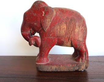 Antique Red Elephant Wooden Elephant Old Elephant Carving Temple Elephant