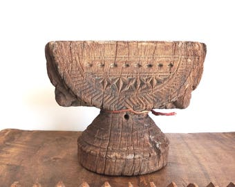 Indian Seeder Antique Wooden Sowing Tool Ethnic Artifact Wooden Candlestand
