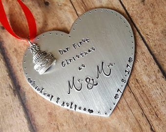 Handstamped Our First Christmas Ornament -  Newlyweds - Our First Christmas As Mr and Mrs - Bride and Groom