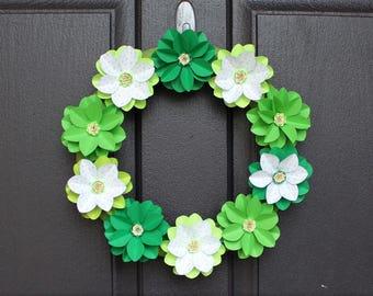 Paper Flower Wreath / Paper Flowers / Green Paper Flowers