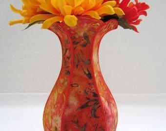 Orange Flame curvy fabric vase batik rustic