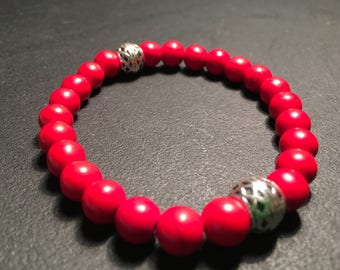 Men's Red Howlite Bracelet