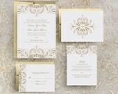 Blush Pink and Gold Wedding Invitation, Foil Stamped Wedding Invitation, Vintage Gold, Printed Gold, Invitation Suite