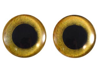 Yellow Owl Glass Eyes - Pick Your Size - for Jewelry Making, Art Dolls, Taxidermy, Sculptures - Eyeball Flatback Domed Circle Cabochons