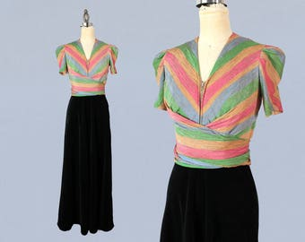 1940s Dress / Late 30s Early 40s Evening Dress / Zip Wrap Bodice / Candy Stripe Metallic Lame / Black Velvet / Puffed Sleeves