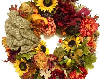 "CHRISTMAS IN JULY Fall Wreath Sunflower Hydrangea Peony Wreath Silk Floral Grapevine Rust Gold Orange Brown Approx. 27"" Indoor Outdoor  w/ L"