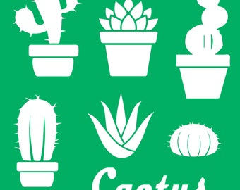 cactus stencil, bullet journal or planner