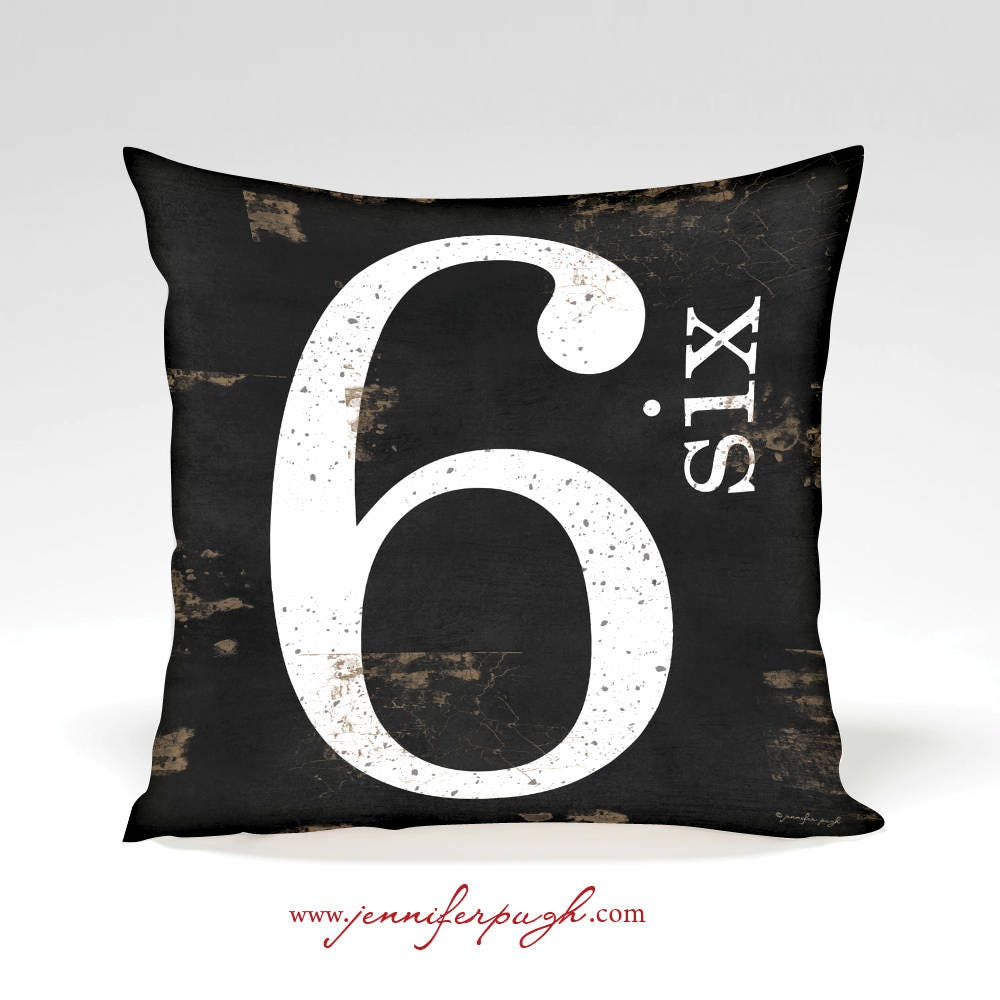 Throw Pillow With Numbers : Farmhouse Number 6 Decorative Pillow Home Decor Full
