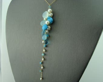 Aqua Blue Chalcedony Turquoise Apatite White Freshwater Pearl 14K Gold Filled Gemstone Necklace