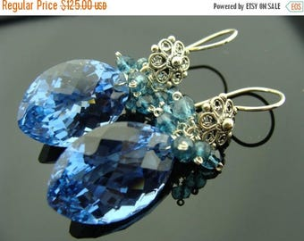 London Blue Topaz Fancy Cut Large Stone Sterling Silver Filigree Flower Earrings