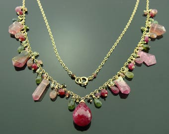 Ruby and Watermelon Tourmaline 14k Gold Filled Gemstone Necklace