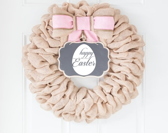Easter Egg Wreath, Front Door Happy Easter Sign, Pink Spring Decorations, Farmhouse Burlap Wreath